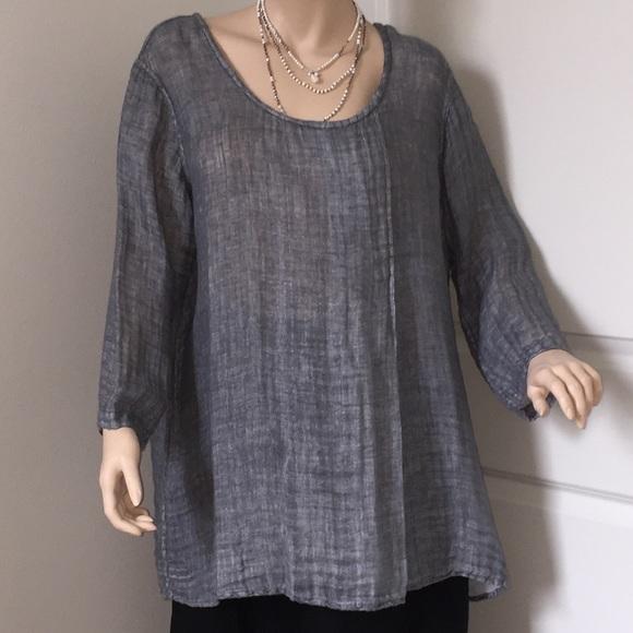 0347f53c6aa FLAX Tops - FLAX Gray Raw  Natural Linen Tunic Top Size L